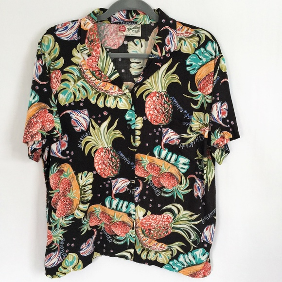 9035b408 Hilo Hattie Tops - Hilo Hattie Hawaiian Shirt Pineapple Angelfish